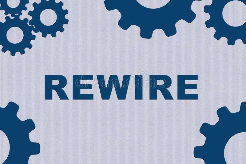 REWIRE - technological concept. REWIRE sign concept illustration with blue gear wheel figures on bale blue strips as background, building, cable, circuit stock illustration