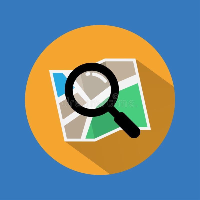 Rewizi ikona Znalezisko ikona na mapie z długim cieniem wektor ilustracja royalty ilustracja