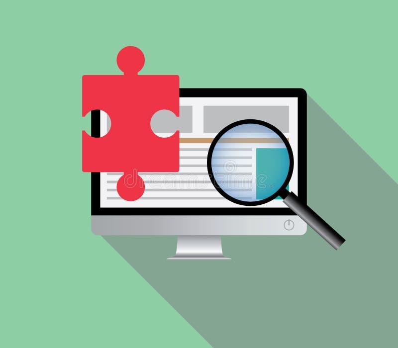 Rewizi rozwiązanie przez online wyszukiwać wyszukuje internet w komputerze ilustracji