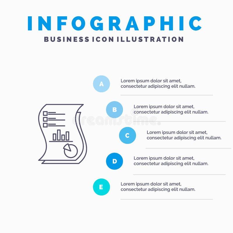 Rewizja, analityka, biznes, dane, marketing, papier, raport Kreskowa ikona z 5 kroków prezentacji infographics tłem royalty ilustracja