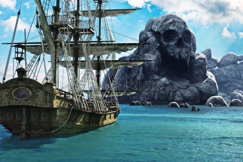 Rewizja dla czaszki wyspy Pirata lub handlarza żeglowania statek zakotwiczał blisko tajemniczej czaszki wyspy ilustracji