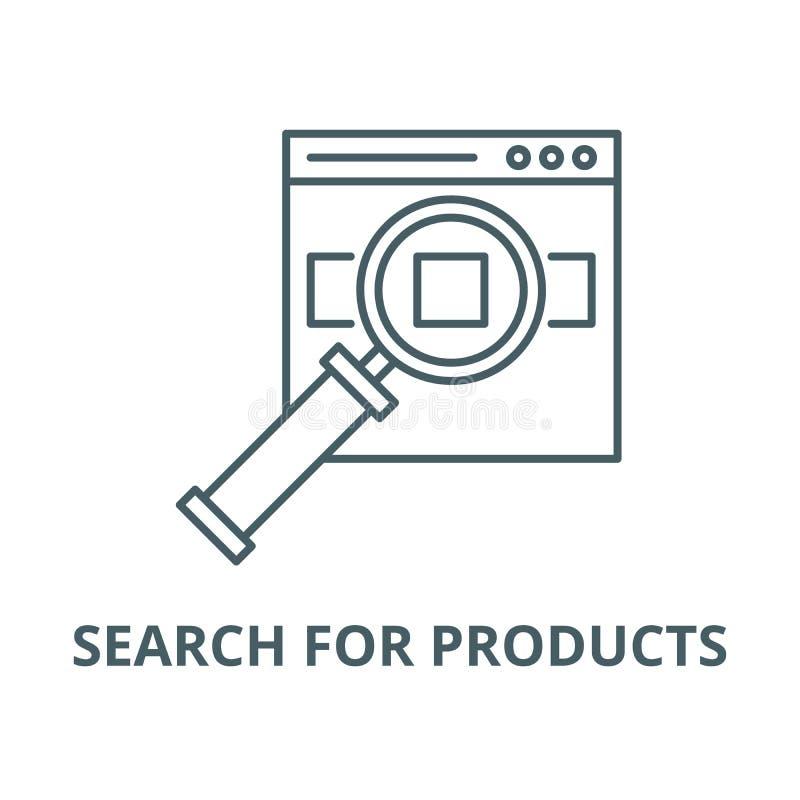 Rewizja dla produktów na miejsce wektoru linii ikonie, liniowy pojęcie, konturu znak, symbol royalty ilustracja