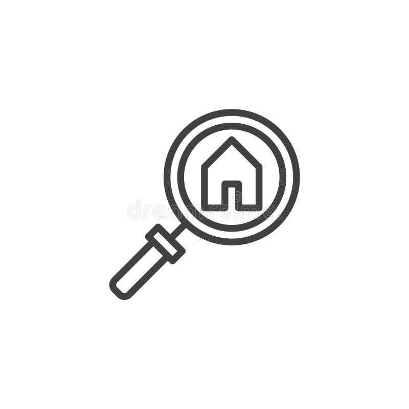 Rewizja domu konturu ikona ilustracja wektor