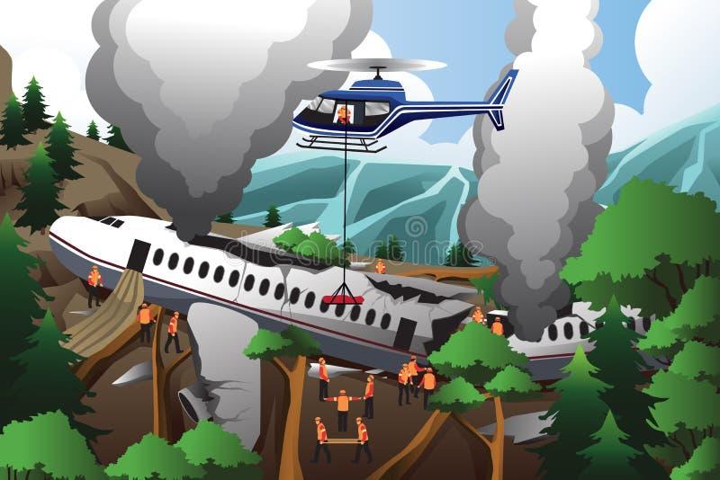Rewizja i ratunek dla samolotowego trzaska ilustracja wektor