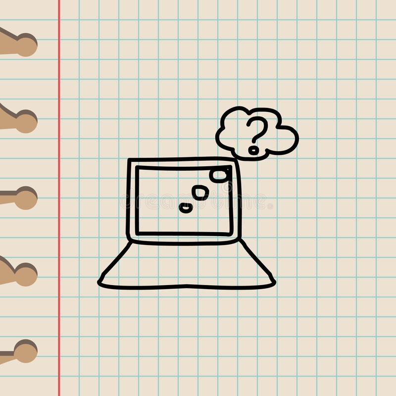 rewizja na Internetowej nakreślenie ikonie Element edukaci ikona dla mobilnych pojęcia i sieci apps Kontur rewizja na Internetowy royalty ilustracja