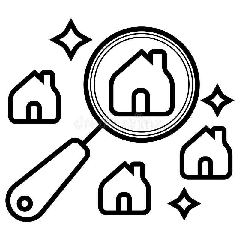 Rewizji domowa ikona, majątkowa nieruchomości ikona ilustracja wektor