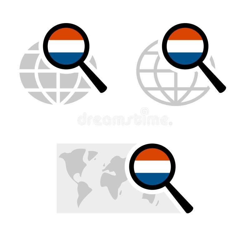 Rewizji ikony z holender flagą royalty ilustracja