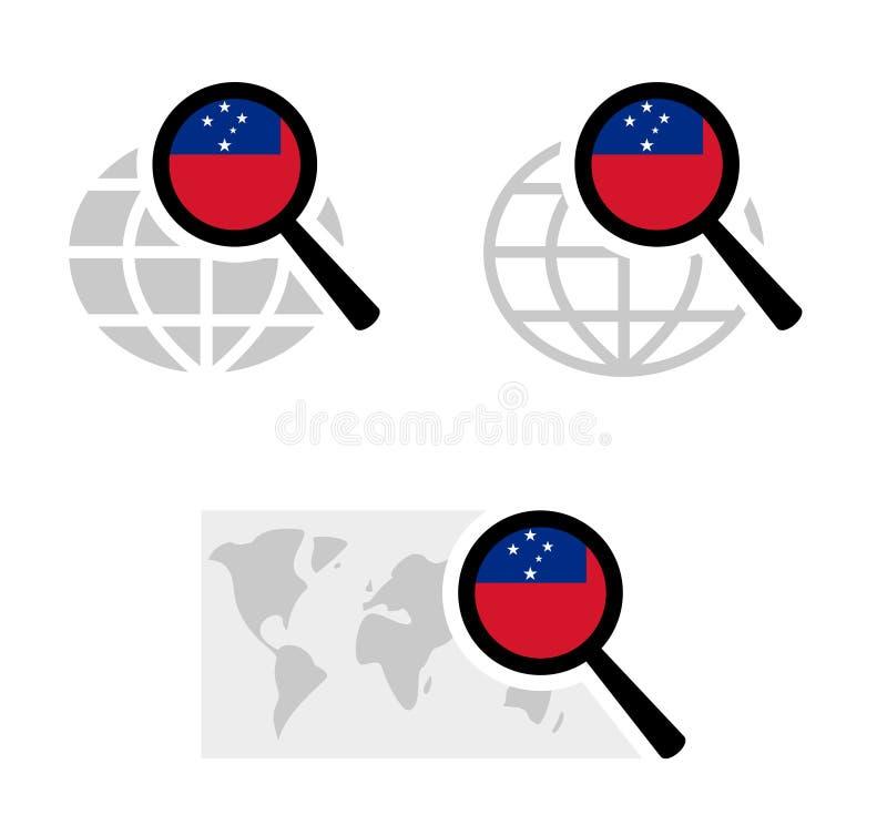 Rewizji ikony z Samoa flagą ilustracja wektor