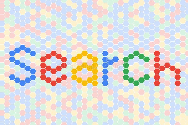 Rewizji sformułowań tekst z Miękkim koloru tłem Honeycomb siatki płytki przypadkowy tło Multicolor lub kolorowa czerwona błękitna royalty ilustracja