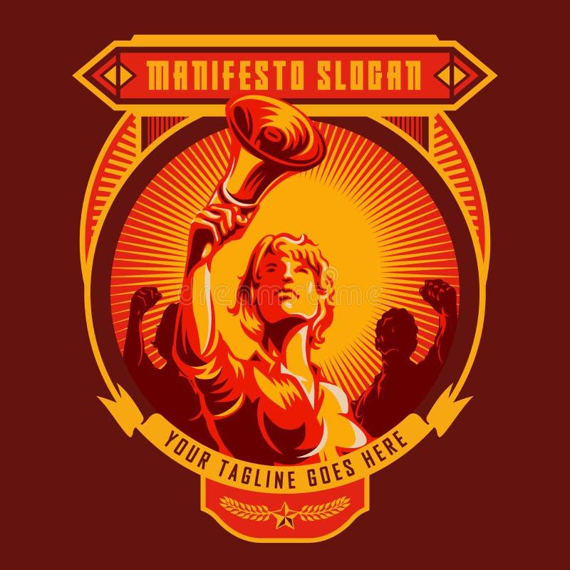 Rewolucja manifesta odznaka ilustracja wektor
