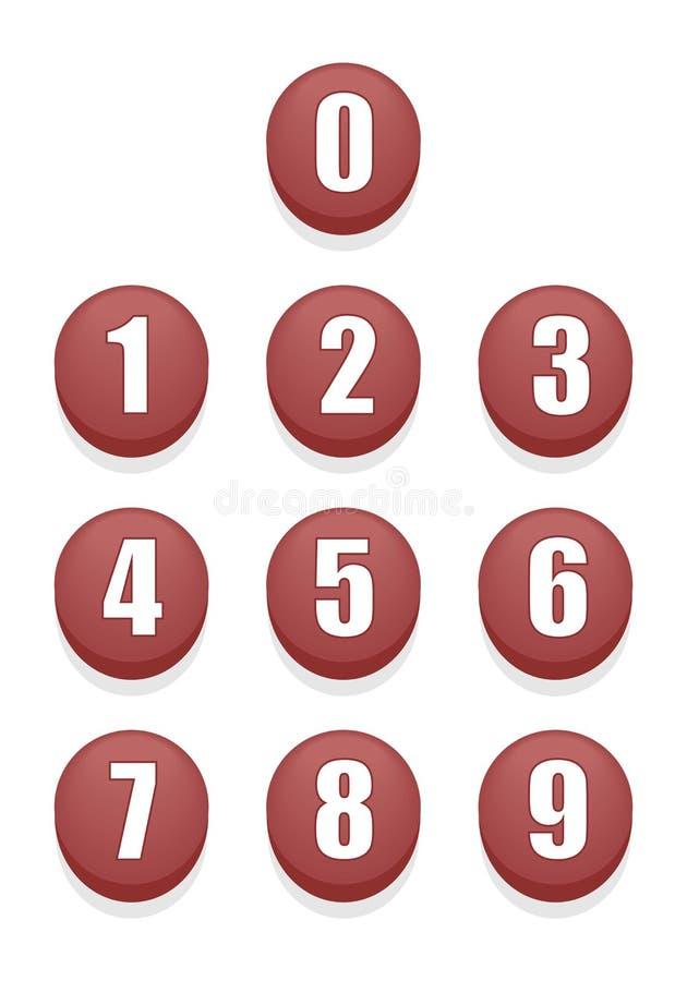 Rewolucjonistek liczb guziki ilustracja wektor