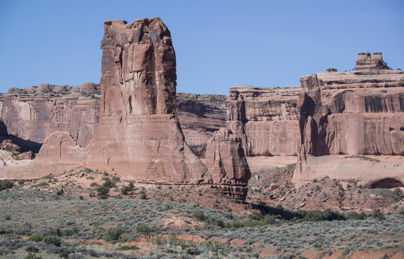 Rewolucjonistek rockowe iglicy w łuku Krajowym zabytku blisko Moab, Utah, usa obrazy royalty free