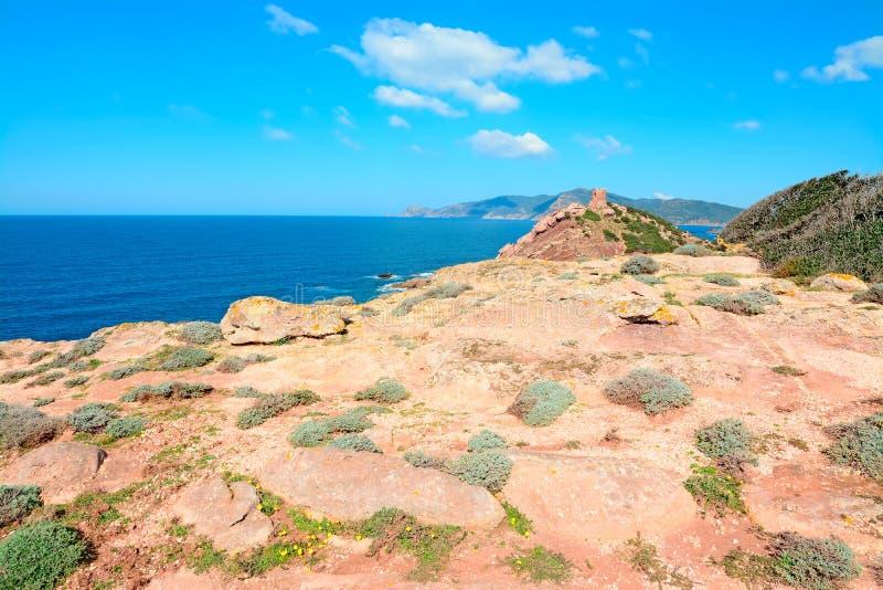 Rewolucjonistek skały i błękitny morze fotografia stock