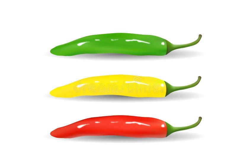Rewolucjonistka, kolor żółty, zieleni gorącego chili pieprze ilustracja wektor