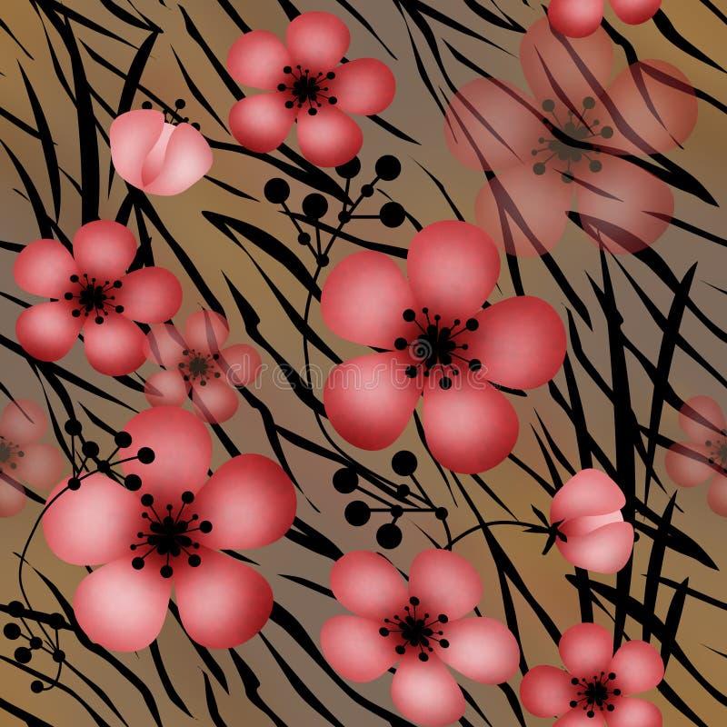 Rewolucjonistka kwitnie na tygrysiej dzikiej skóry rzemiennym bezszwowym wzorze ilustracja wektor