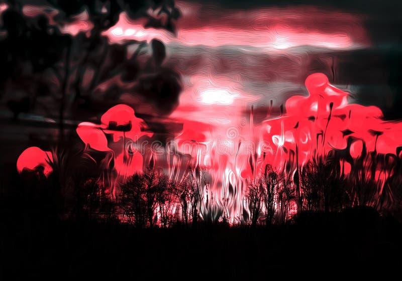 Rewolucjonistka Kwitnie tana przy nocą ilustracja wektor
