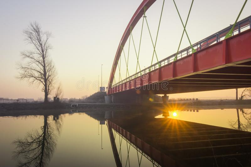Rewolucjonistka most nad Bosut rzeką w Vinkovci, Chorwacja zdjęcia stock