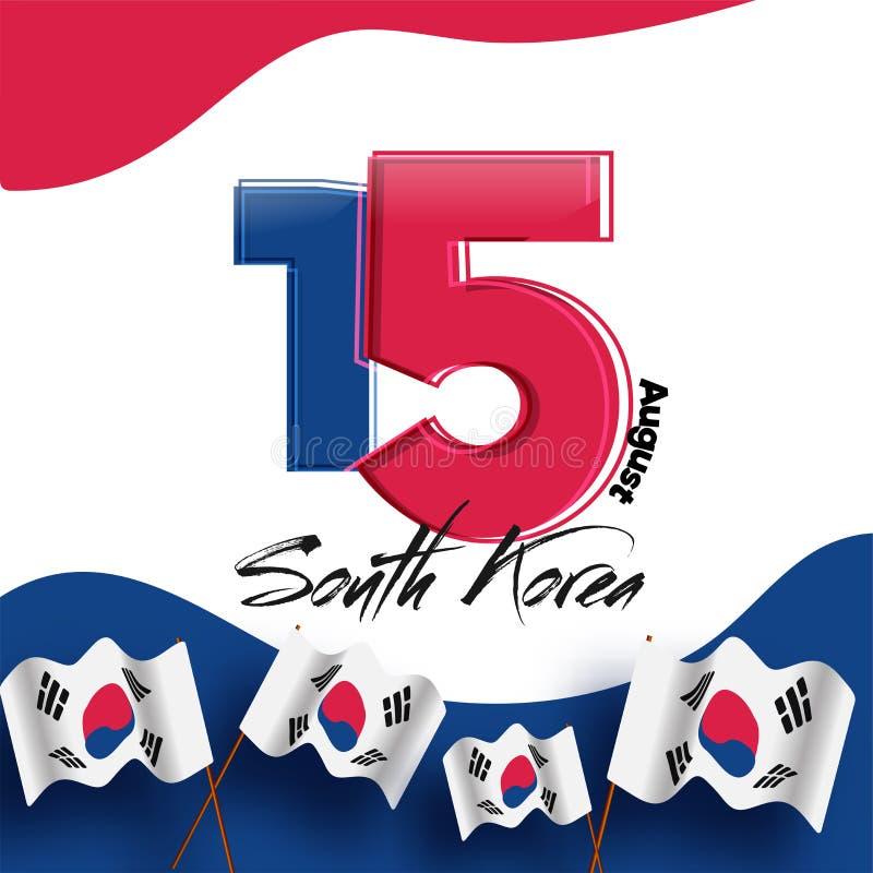 Rewolucjonistka 15 na Południowego Korea flaga państowowa backgro i błękitna kolor cyfra ilustracja wektor