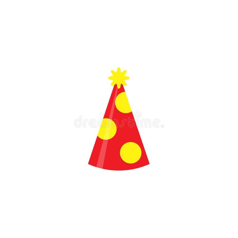 Rewolucjonistka partyjny kapelusz odizolowywający na białym tle Akcesorium, symbol wakacje Urodzinowa Kolorowa nakrętka wektoru i ilustracji