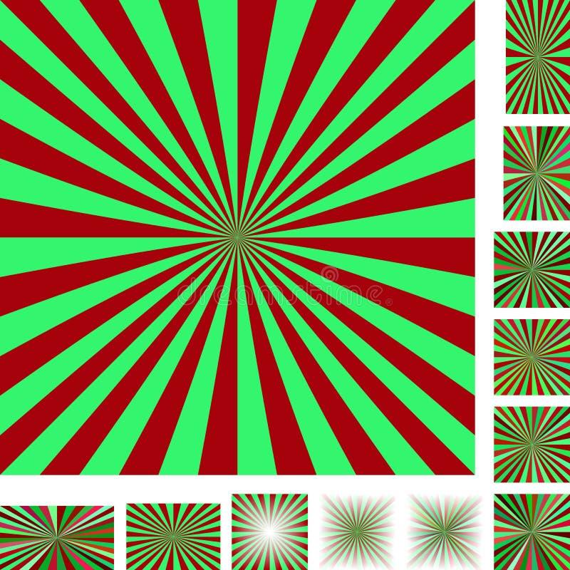 Rewolucjonistka promienia wybuchu tła zielony set ilustracja wektor