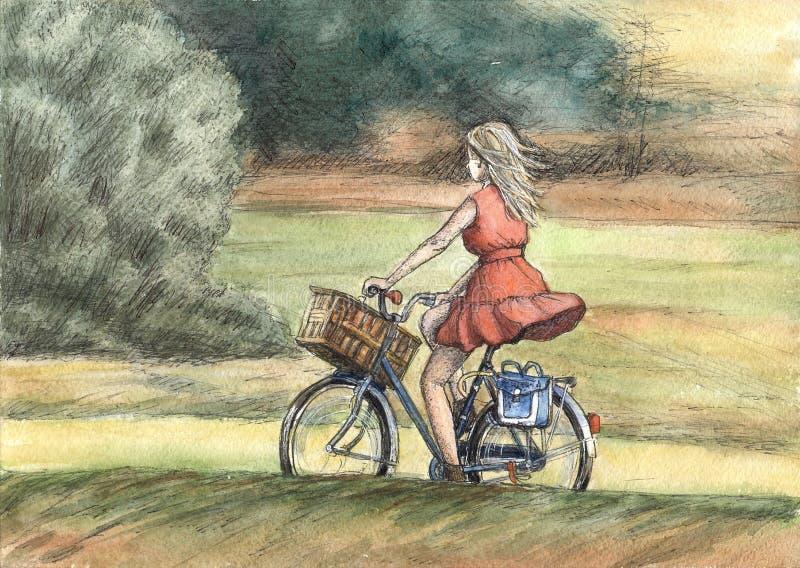 Rewolucjonistka ubierający cyklista royalty ilustracja