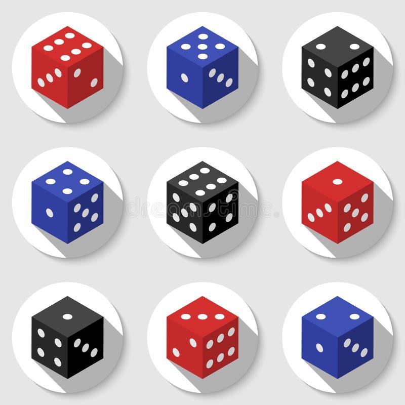 Rewolucjonistki, błękitnych i czarnych kasynowi kostka do gry na białym tle, ilustracji