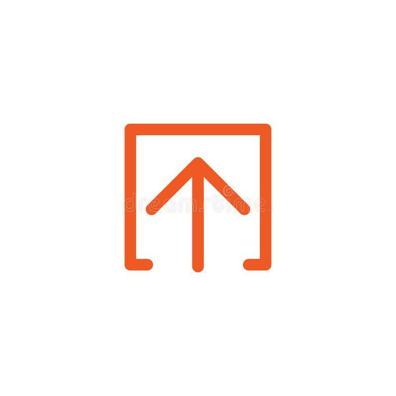 Rewolucjonistki cienka zaokrąglona strzała up w pudełkowatej ikonie Odizolowywający na bielu Upload ikona Ulepszenie znak ilustracji
