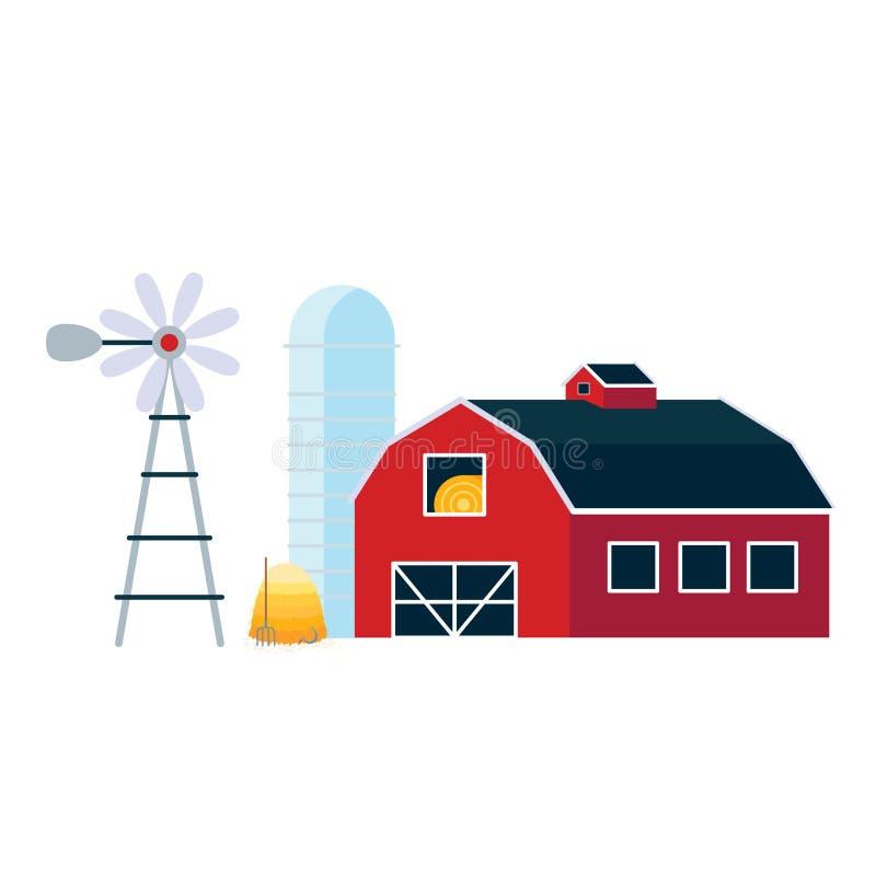 Rewolucjonistki domowa stajnia z silosem, wiatraczek i stos siana mieszkanie, projektujemy wektorową ilustrację ilustracja wektor