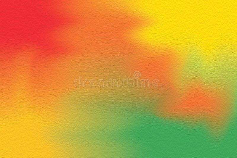 Rewolucjonistki farby zielony kolorowy muśnięcie na papierowym tekstury tle, wielo- kolorowej obraz sztuki wodnego koloru tapety  ilustracji