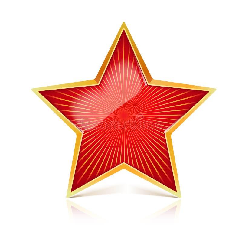 Rewolucjonistki gwiazda z złocistym metalu obręczem i promieniować od centrum promieni Realistyczny symbol USSR z odruchami i royalty ilustracja