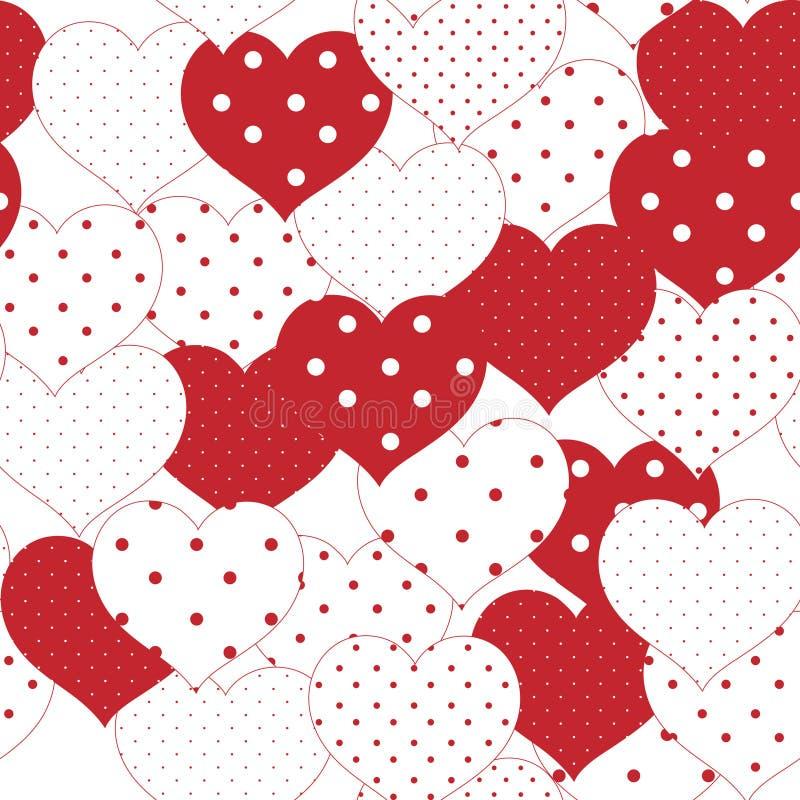 Rewolucjonistki i białego romantyczny bezszwowy wzór z kropki sercem Sy ilustracji