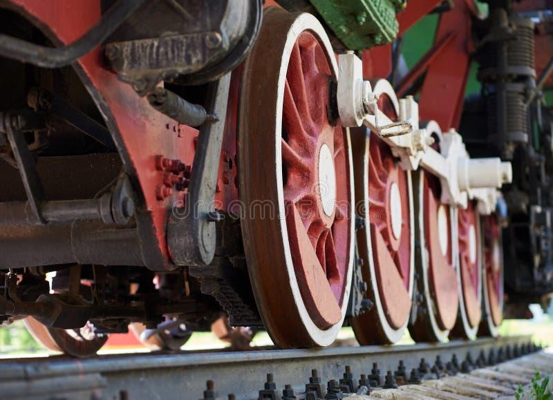 Rewolucjonistki i białych koła stara parowa lokomotywa zdjęcia royalty free