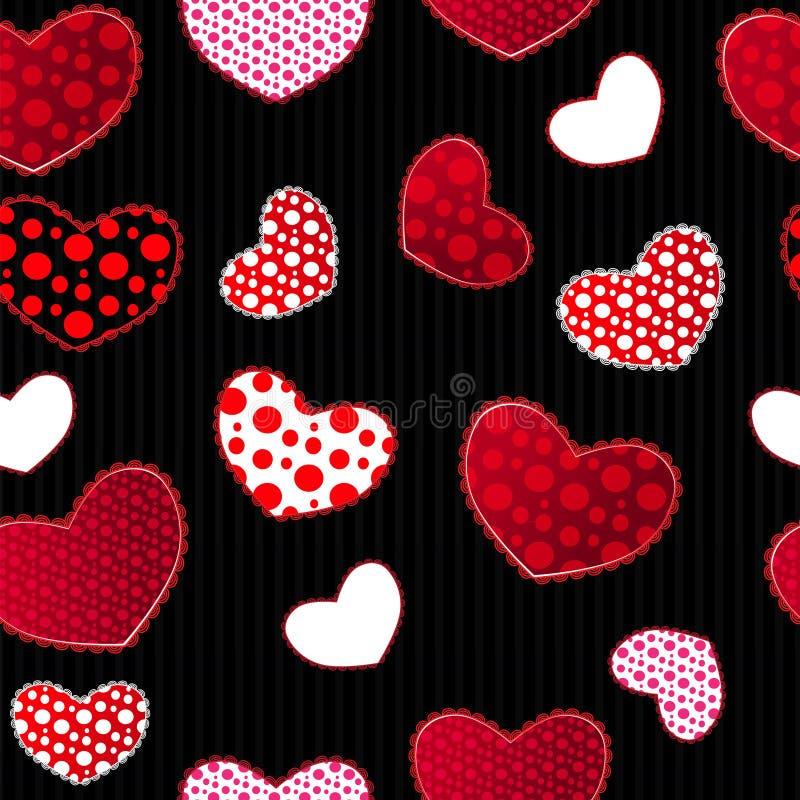 Rewolucjonistki i czerni miłości Valentin's dnia Bezszwowy wzór ilustracja wektor