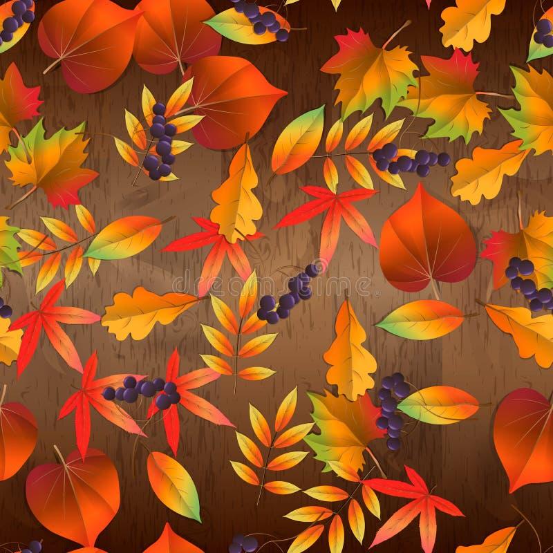 Rewolucjonistki i kolor żółty jesień liść wektorowy bezszwowy wzór na drewnianym tle obraz royalty free