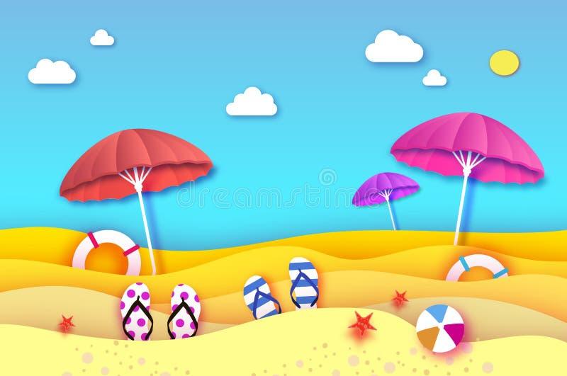 Rewolucjonistki i menchii parasol - parasol w papieru cięcia stylu Origami plaża z lifebuoy i morze Sport balowa gra Flipflops ilustracji