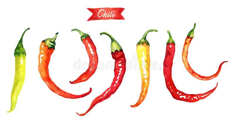Rewolucjonistki i zieleni chili pieprze odizolowywający na białej akwareli ilustraci royalty ilustracja