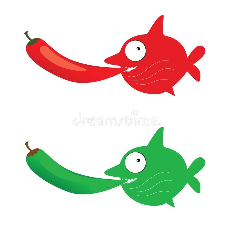 Rewolucjonistki i zieleni ryba z chillies wektorowymi royalty ilustracja