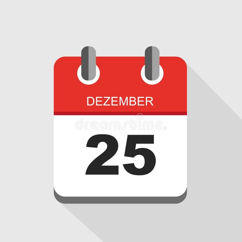 Rewolucjonistki kalendarzowa ikona 25 Grudzień ilustracji