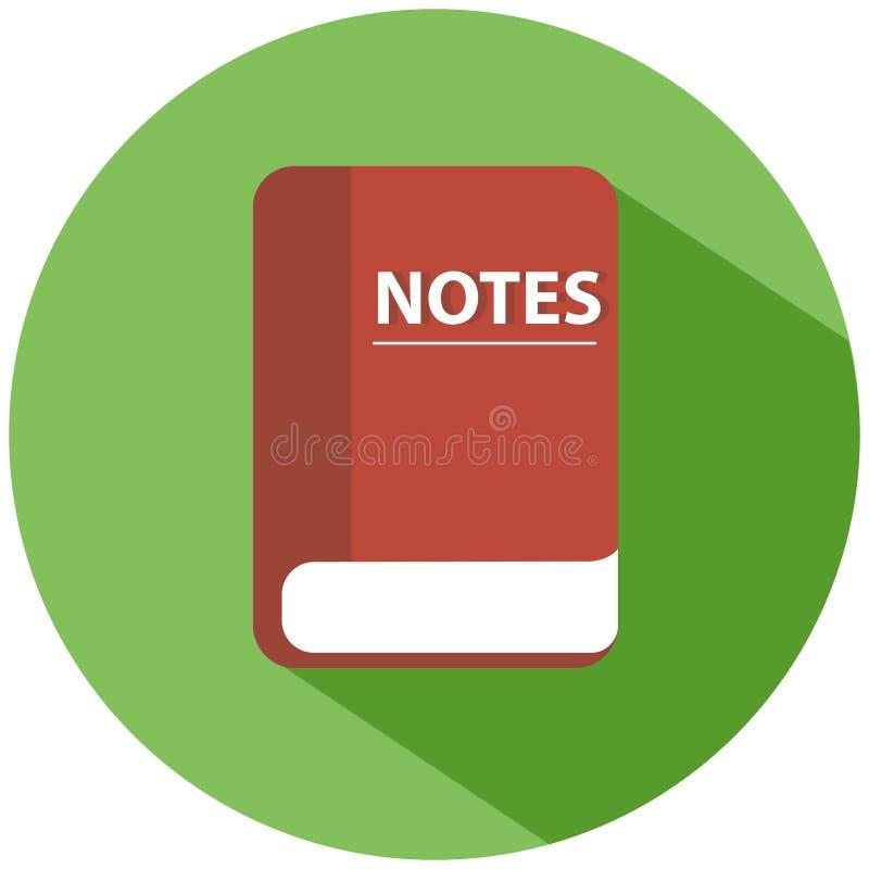 Rewolucjonistki książka dla notatek w zielonym okręgu, odosobniona na białym tle Realistyczna ikona ilustracja wektor