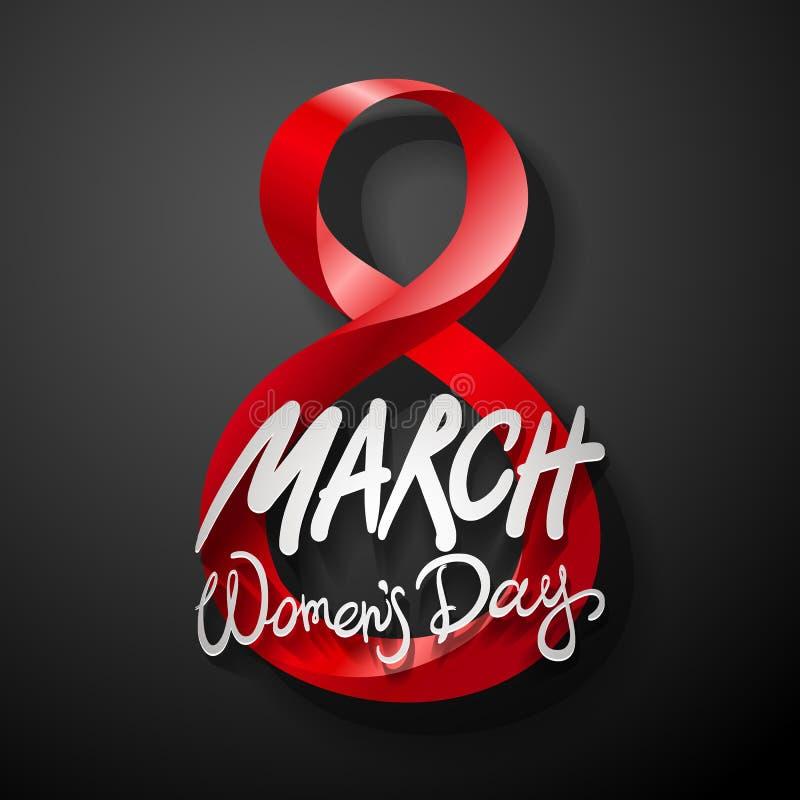 Rewolucjonistki Marzec 8 kartka z pozdrowieniami Międzynarodowy kobieta dzień wektor Czarny tło royalty ilustracja