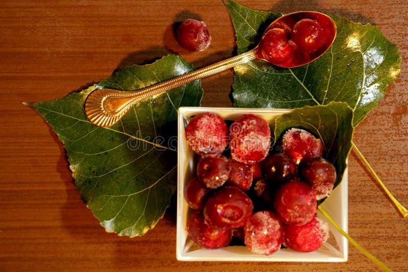 Rewolucjonistki marznąć jagody na liściach obrazy stock