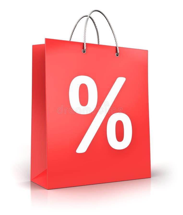 Rewolucjonistki papierowy torba na zakupy z procentu symbolem lub znakiem ilustracji