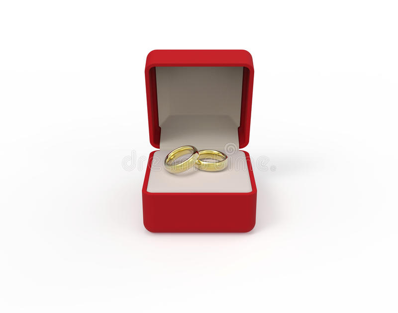 Rewolucjonistki pudełko z dwa zaręczynowymi złocistymi pierścionkami na białym tle 3d ilustracja wektor
