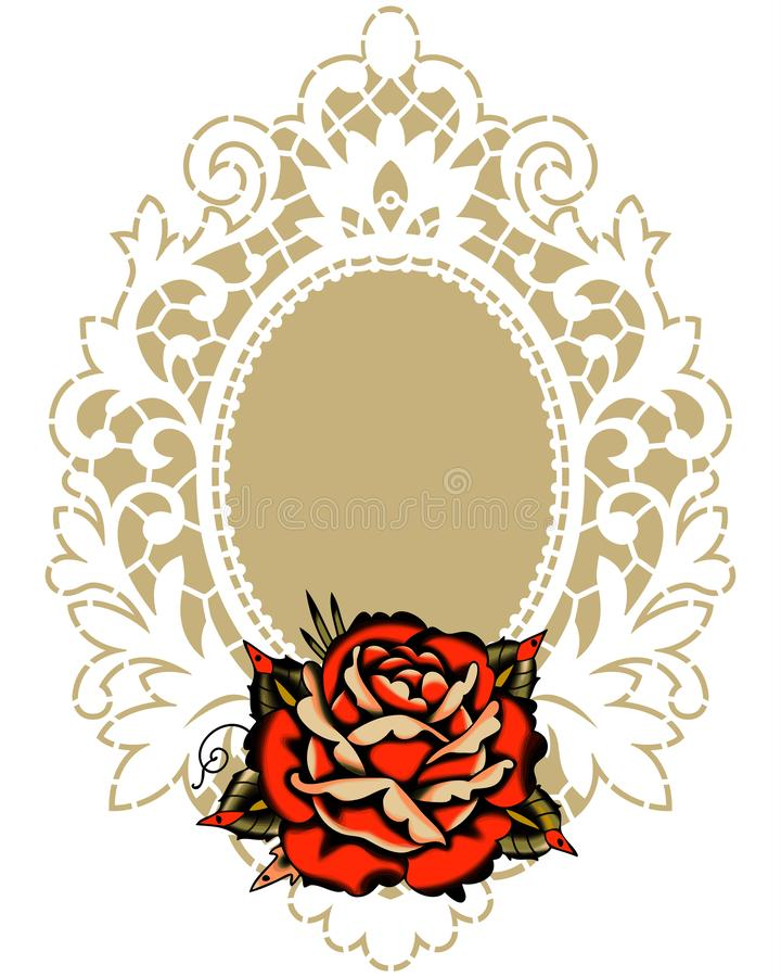Rewolucjonistki róży bielu koronki rama royalty ilustracja
