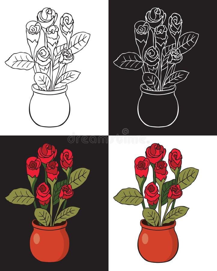 Rewolucjonistki róża w garnku ilustracja wektor