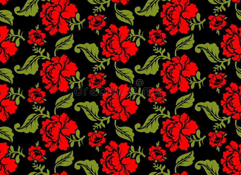 Rewolucjonistki róży bezszwowy wzór może jest inna kwiecista ilustracji celów używać struktura Rosyjski ludowy ornament ilustracja wektor