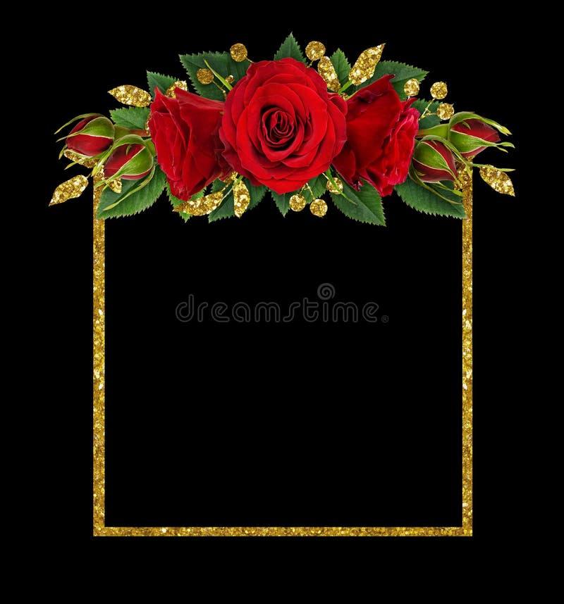 Rewolucjonistki róży kwiaty i błyskotliwość dekoracje z ramą obrazy royalty free