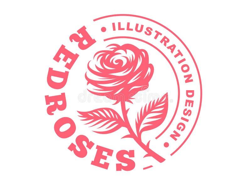 Rewolucjonistki róży logo - wektorowa ilustracja, emblemat na białym tle ilustracja wektor