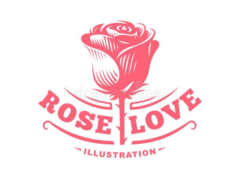Rewolucjonistki róży logo - wektorowa ilustracja, emblemat na białym tle royalty ilustracja