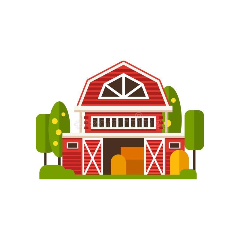 Rewolucjonistki stajni rolny budynek, wsi budowy wektorowe ilustracje na białym tle royalty ilustracja